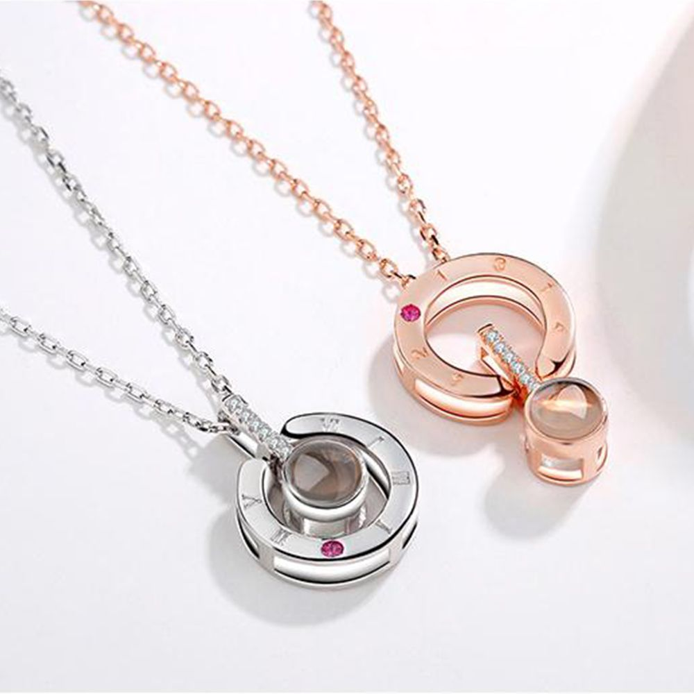New Rose Or Argent Amour Mémoire De Mariage Collier 100 langues Je t'aime De Projection Pendentif Collier Drop Shipping
