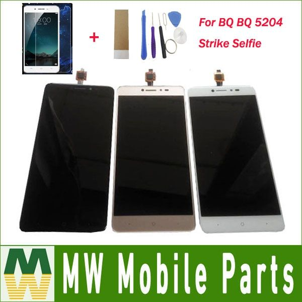 For BQ BQ 5204 Strike Selfie BQ-5204 LCD Display Screen+Touch Screen Digitizer Assembly Black White Gold Color with Kit