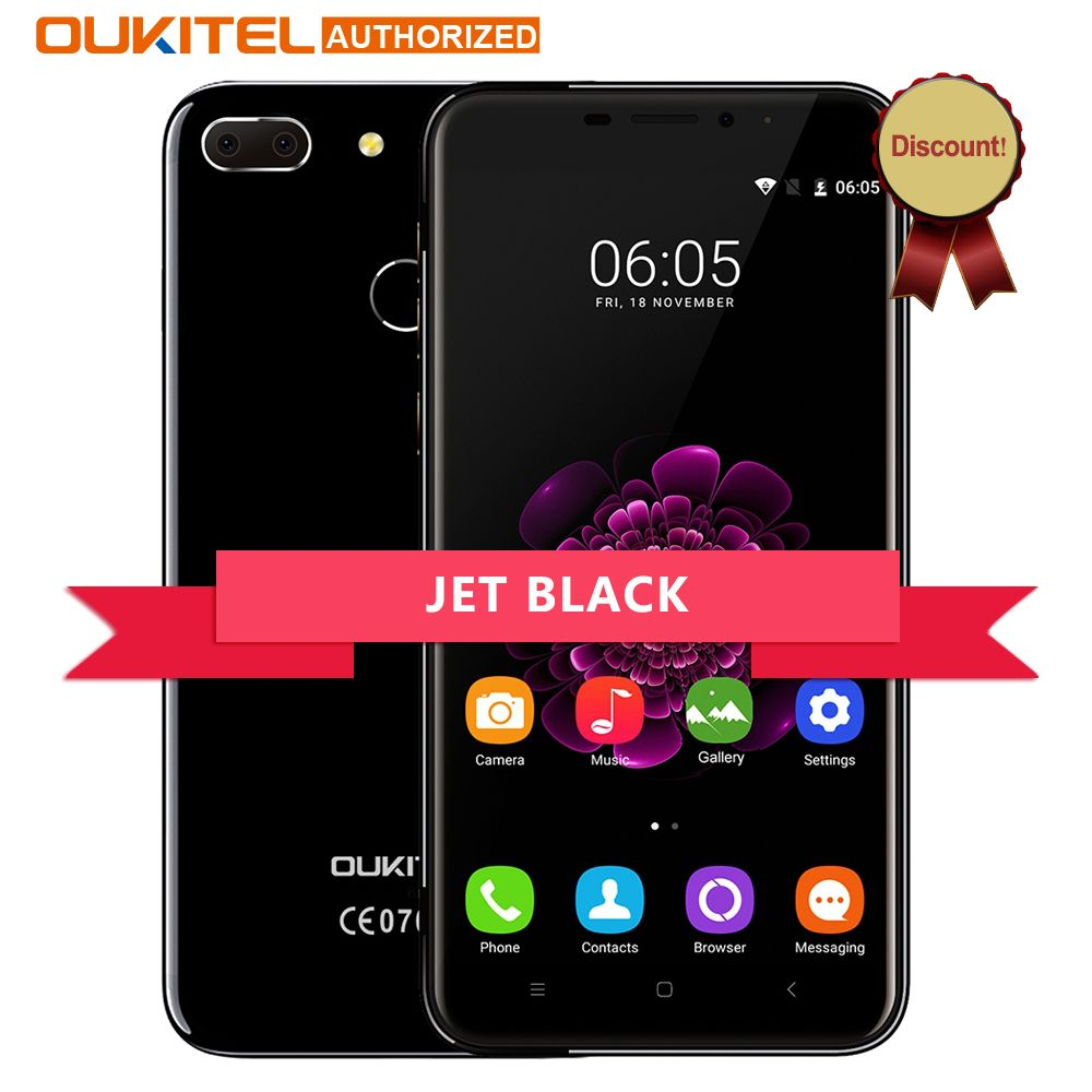 Oukitel Jet BLack U20 Plus Android 7.0 4G Mobile phone 5.5inch IPS FHD MTK6737T Quad Core 13MP Dual Lens  2GB + 16GB Smartphone