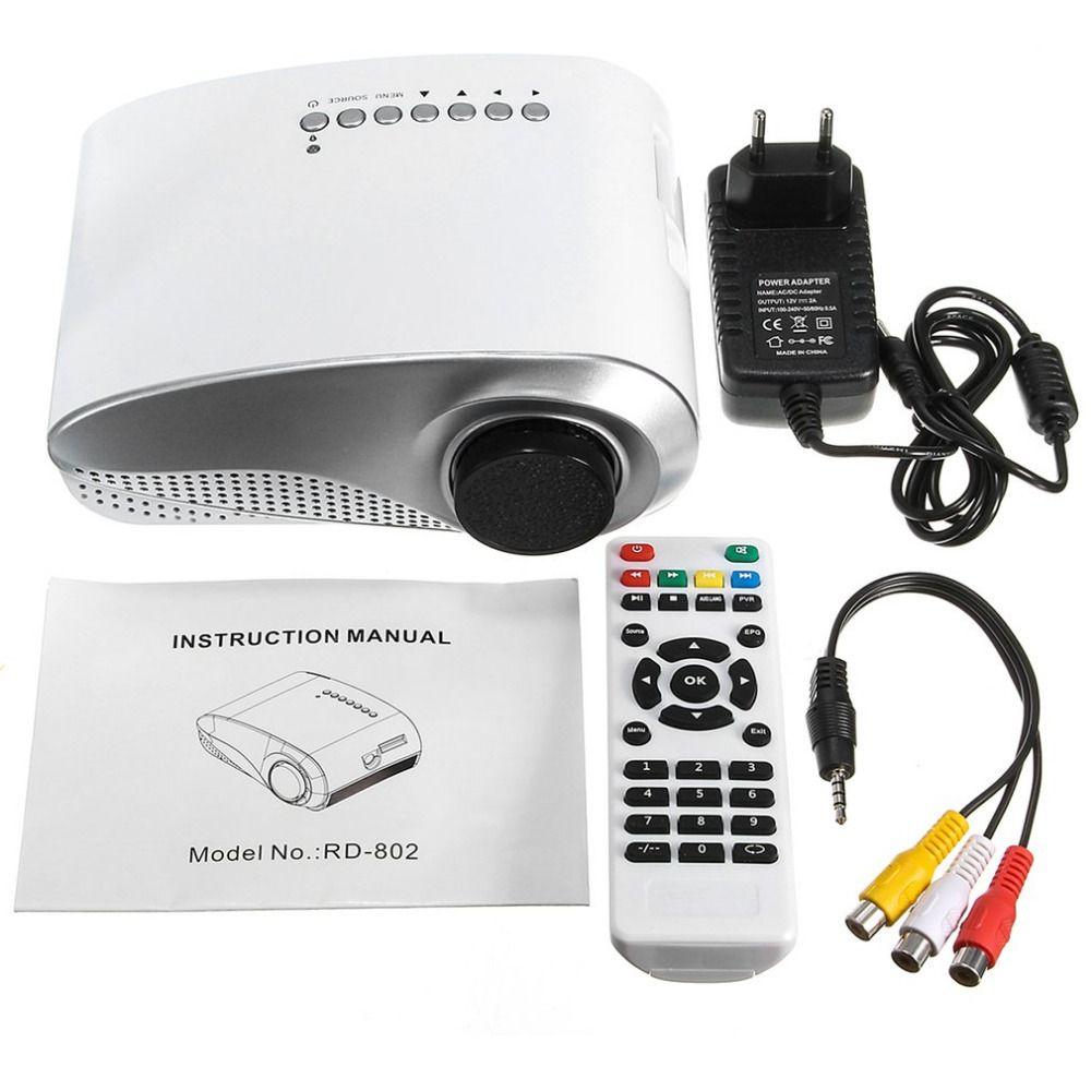 3D Full HD 1080P Mini Portable Projector LED Multimedia Player USB VGA HDMI TV AV 18000K LED Projector Home Theater