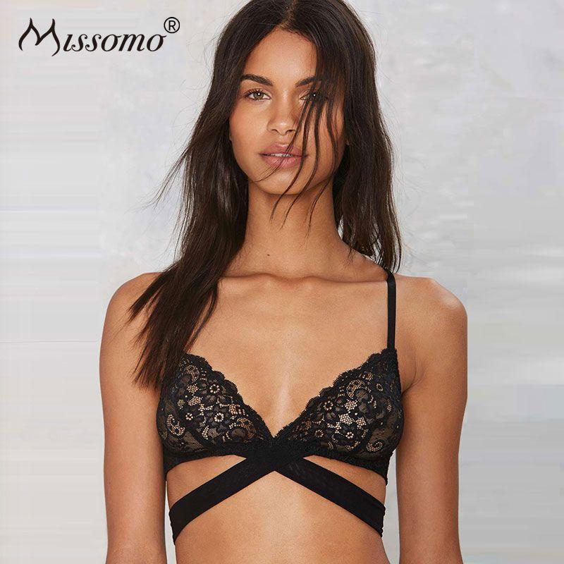 Missomo 2017 Nouvelles Femmes De Mode D'été Chaud Sexy Doux Croix Soutien-Gorge Lce Jacquard Push Up Bralette