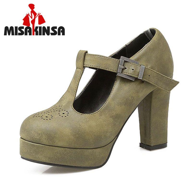 MISAKINSA Size 34-43 Female Thick High Heeled Shoes Women Ankle Cross Strap Vintage Heels Pumps Round Toe Platform club Footwear