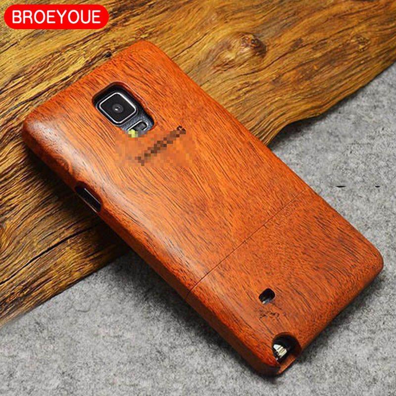 Broeyoue Дерево чехол для Samsung Galaxy S5 S6 S7 S8 Edge Plus Примечание 3 4 5 8 Телефонные чехлы крышка 100% натуральный Бамбук Вырезка Fundas