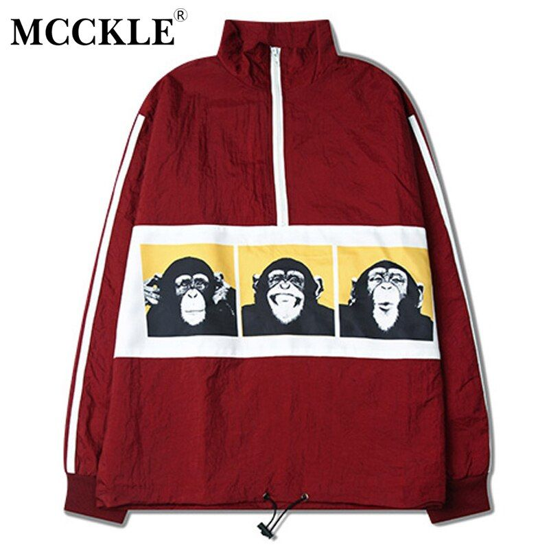 MCCKLE 2018 Spring Bomber Jacket Cargo Apes Print Casual Men Coat Bomb Baseball Jackets Men's Jacket Stand Collar HipHop Outwear