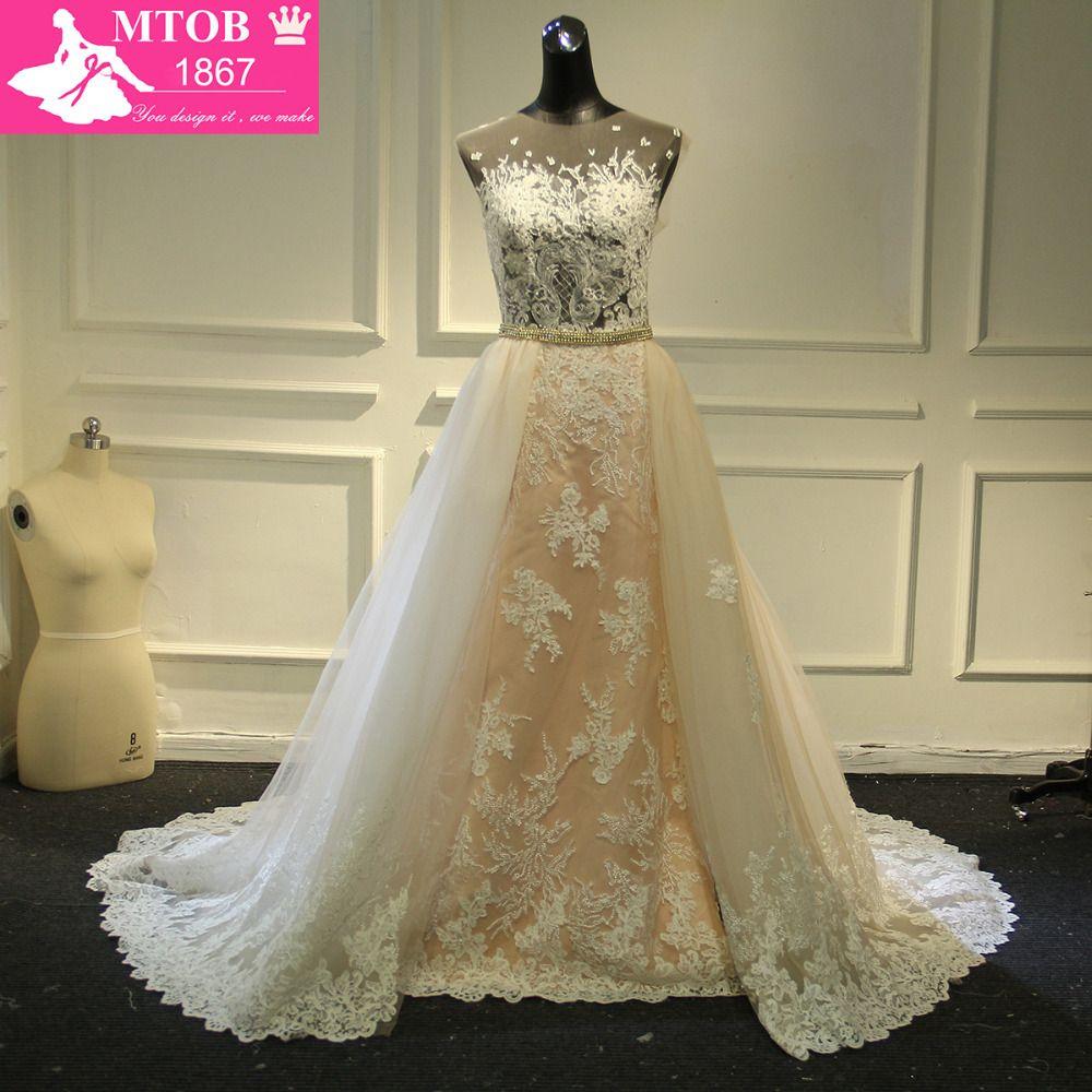 Modische Spitze Hochzeitskleid 2017 Licht Rosa Abnehmbare Schärpe Abnehmbaren Schwanz Kapelle Zug Robe De Mariage MTOB1761