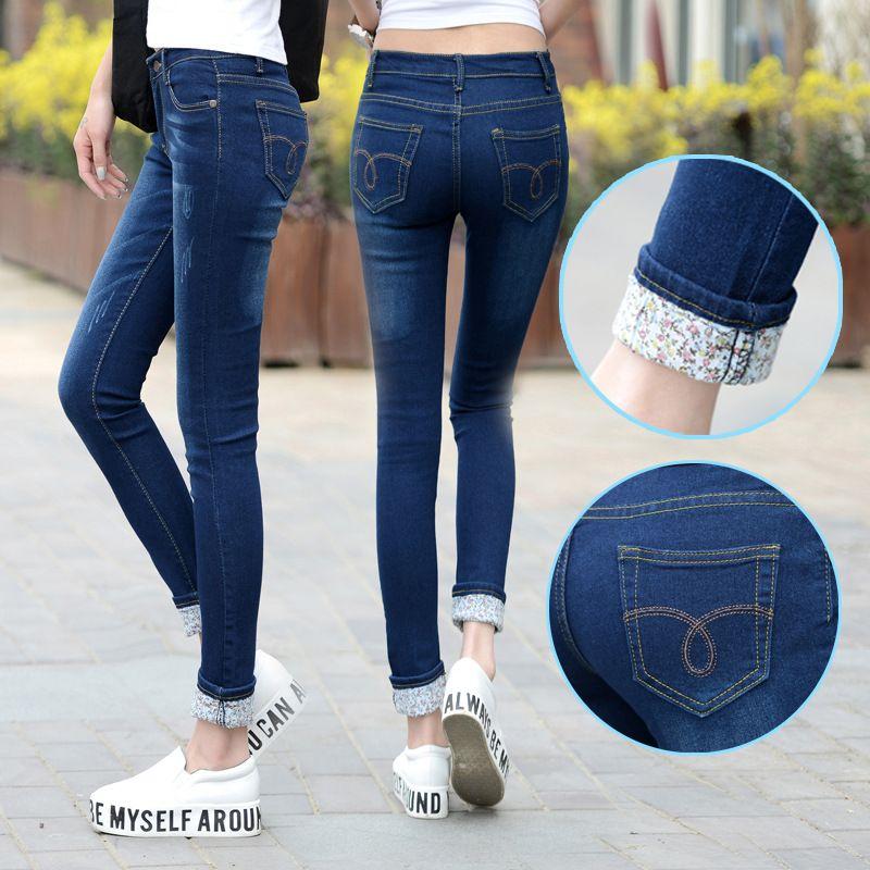 Plus Size 25-36 Jeans Women Two Cuffs Worn Jeans Female Casual Trousers Pencil Pants Jeans Woman High Waist Jeans Korean