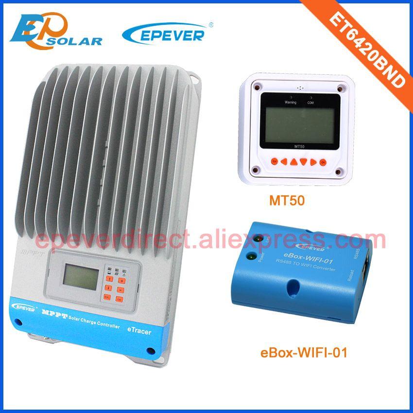 60amp 60A Regler lcd-anzeige solar panel Batterieladeregler wifi funktion ET6420BND mit weiß MT50