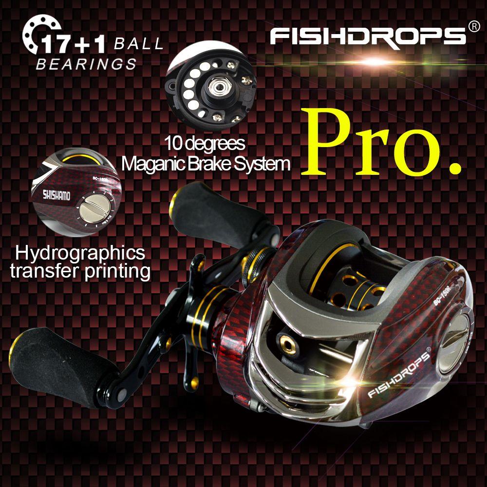 Fishidrops BC150 18 <font><b>Ball</b></font> Bearings Baitcasting Reels Right Left Hand Metal Fishing Bait Casting Reel with One Way Clutch