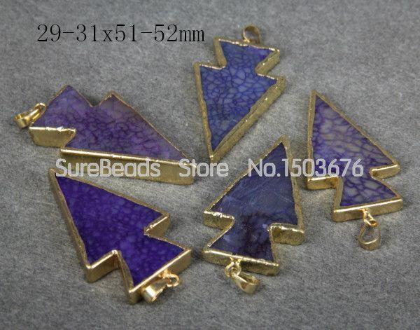 5pcs/lot,Natural Purple Druzy Smooth Onxy with Gold Bail Pendant,Reiki Chakra Arrow Shape Necklace Gem Stones Beads Jewelry