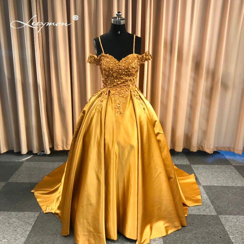 Leeymon Custom Made 2018 Free Shipping Wedding Satin Sweetheart Appliques with Spaghetti Straps Dress Wedding Gown Dress Gold