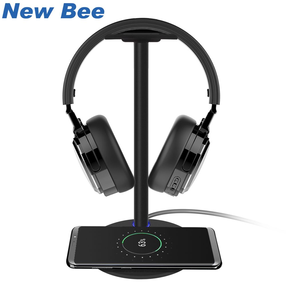 New Bee Wireless Charging Headset Stand Headphone Holder Fashion Aluminum Stand For Samsung Galaxy S7/S7Edge/S6/S6Edge HTC Black