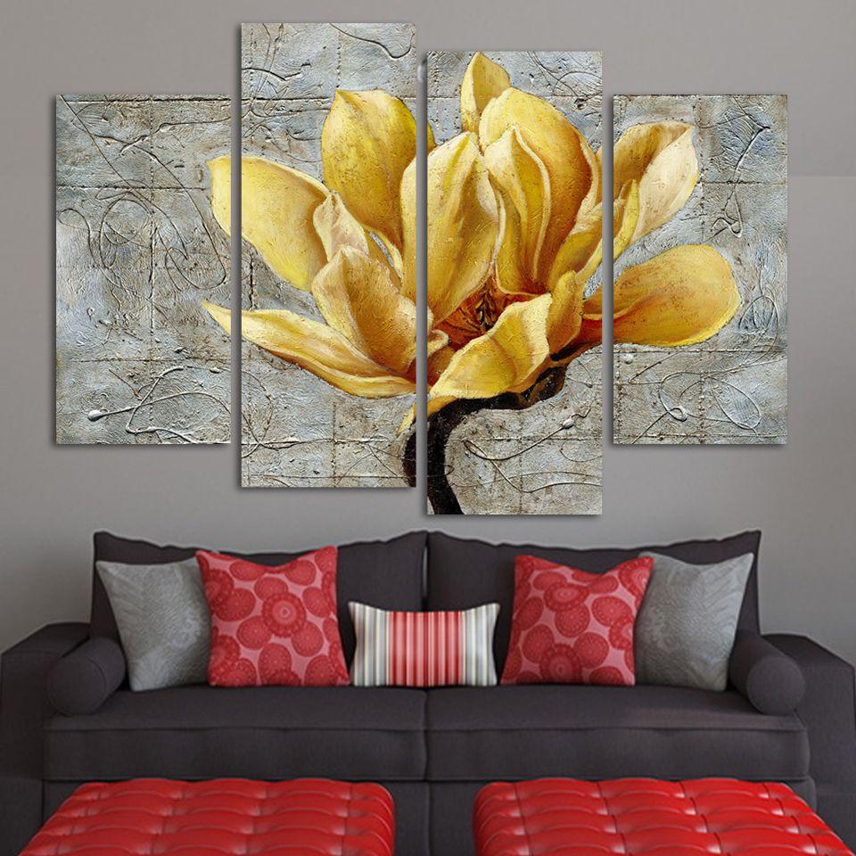 Mode peinture abstraite sans cadre 4 panneaux or fleur moderne peinture à l'huile sur toile Art mural cadeau Top décoration de la maison