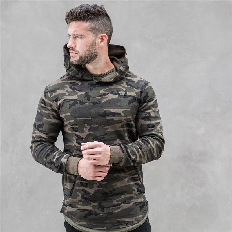 2017 spring new Mens Camouflage Hoodies Fashion leisure pullover <font><b>fitness</b></font> Bodybuilding jacket Sweatshirts sportswear clothing