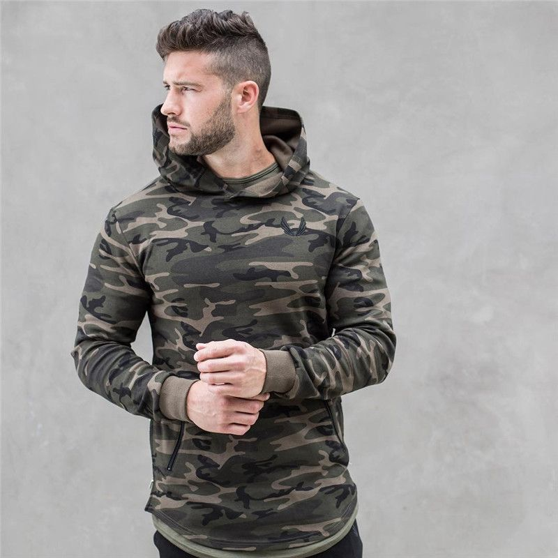 2018 spring new Mens Camouflage Hoodies Fashion leisure pullover <font><b>fitness</b></font> Bodybuilding jacket Sweatshirts sportswear clothing