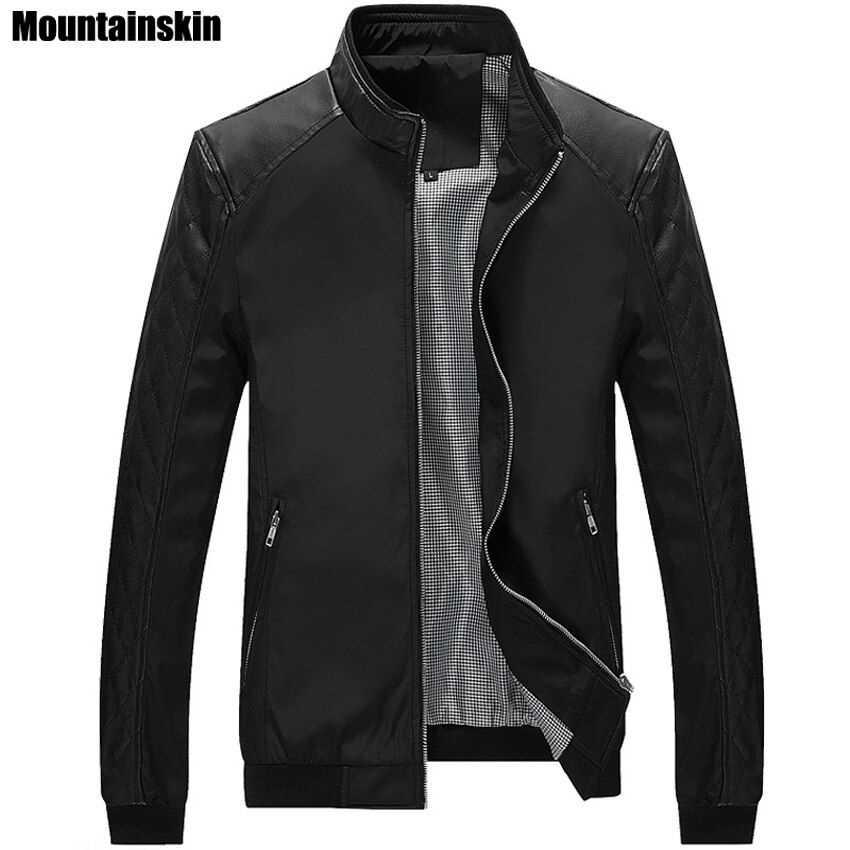 Mountainskin 5XL Spring New Men's PU Patchwork Jackets Casual Men's Thin Jackets Solid Slim Male Coats Brand Clothing,SA167