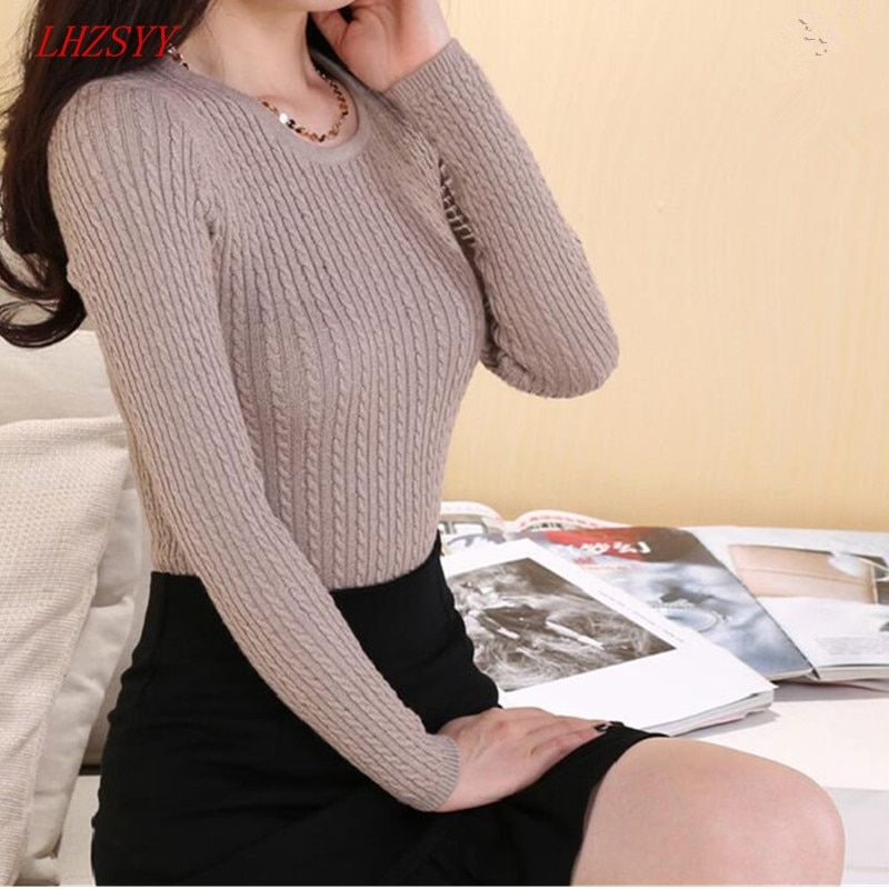 LHZSYY 2018 New Autumn Winter Cashmere Sweater Fashion wild knit Wool O-collar Sweaters Women Solid Tight long-sleeved pullover