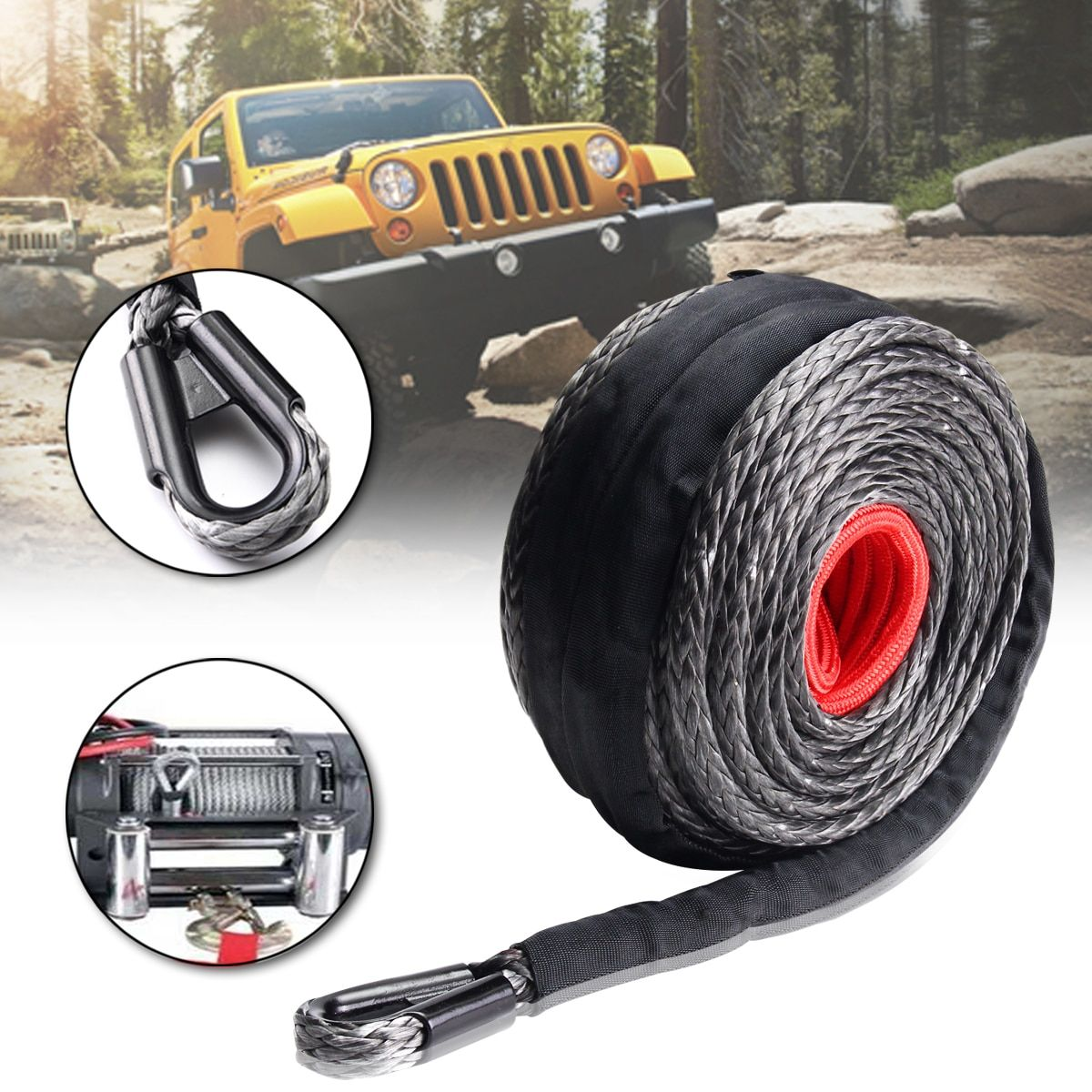 3/8'' x 95' Synthetic Winch Line Cable Rope 20500LBs ATV SUV Recovery Rope 9.5MMx28M Synthetic Winch Line