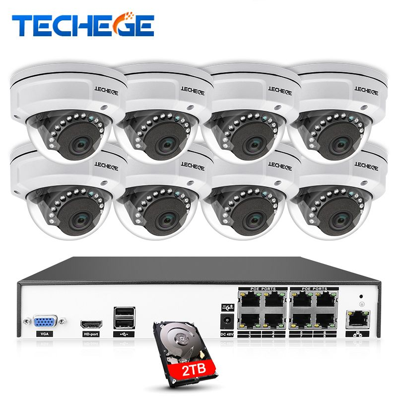 Techege H.265 8CH POE NVR CCTV Camera System 4MP POE IP Camera 2592*1520 Night Vision Vandalproof Waterproof APP PC Remote View