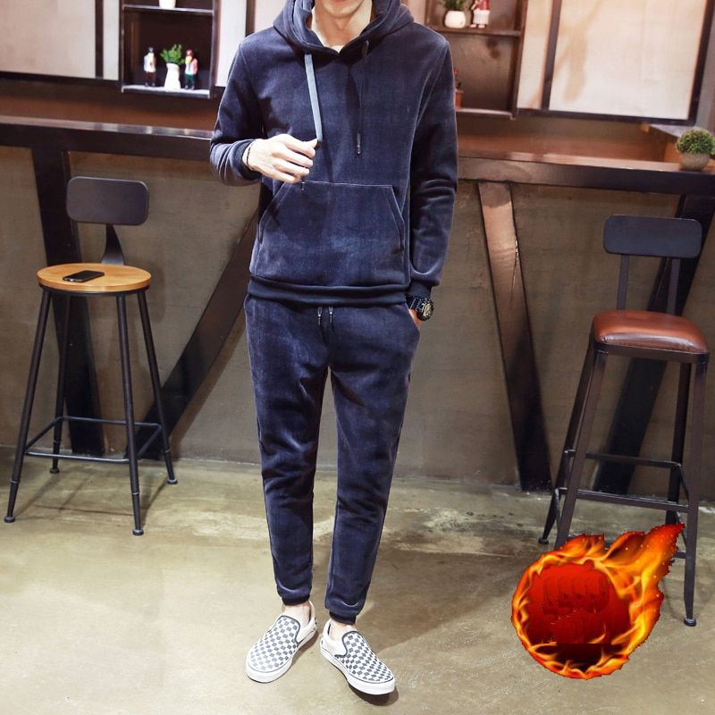 New Men Winter Thickened Set 2 Pieces Solid Warm Sporting Hooded Fleece Lined Sweat Suit Mens Sportswear Male Tracksuit + Pants