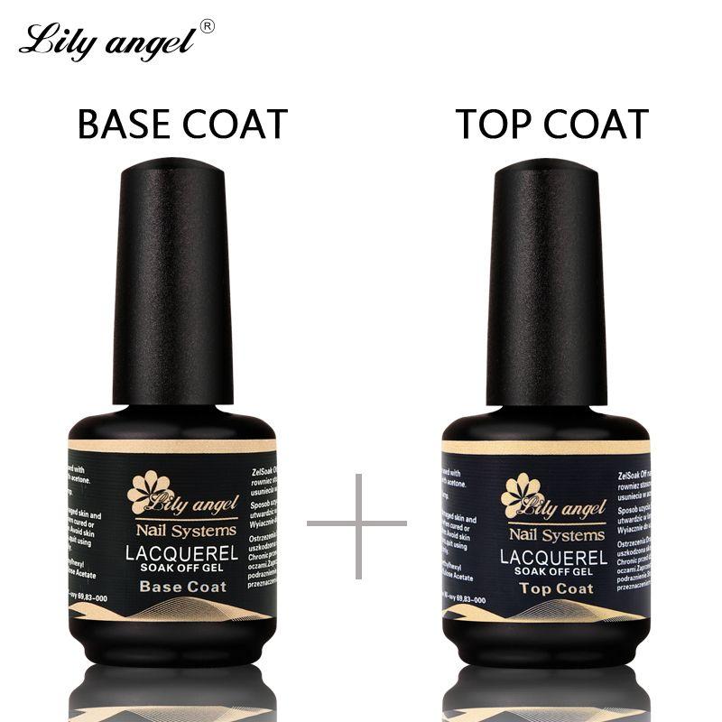 Lily ange 2 Pc/ensemble 15 ml UV Nail Gel Nécessaire Base Manteau & Top manteau Ensemble Longue Durée Gel Nail Laque Brillant Scellant Manucure UV LED