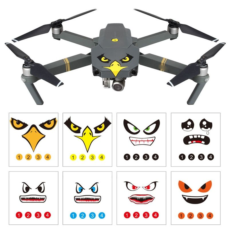 NEW 8Pcs Art Eagle Smile Emoji Shark Sticker Decal Eyes Skin DJI MAVIC PRO DJI Phantom 3 4 series SPARK Wingsland S6 Hot Sale