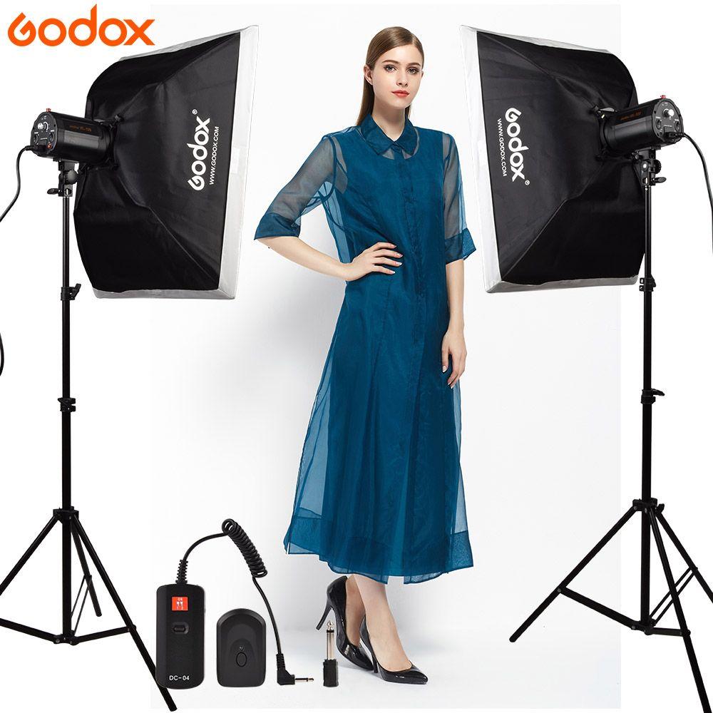 GODOX 2*120Ws 120DI Pro Photography Studio Strobe Flash Light + Light Stand + Softbox 50*70cm + DC-04 Flash trigger Studio Kit