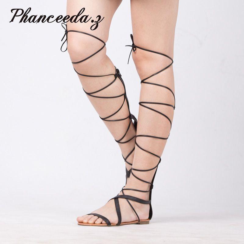 Nouveau 2019 chaussures femmes sandales à lacets Sexy genou bottes hautes gladiateur cravate chaîne décontracté plat haut de marque qualité taille 4-10