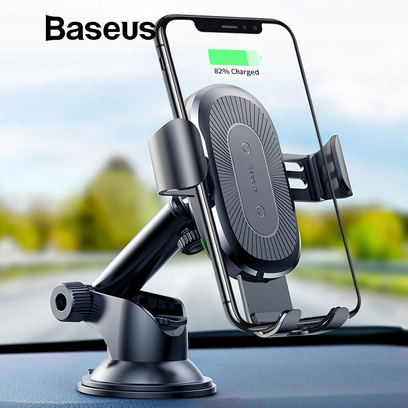 Baseus 2 in1 Qi Wireless Car Charger for iPhone X XS XR Samsung S9 Quick Wireless Charging Charger Car Mount Mobile Phone Holder