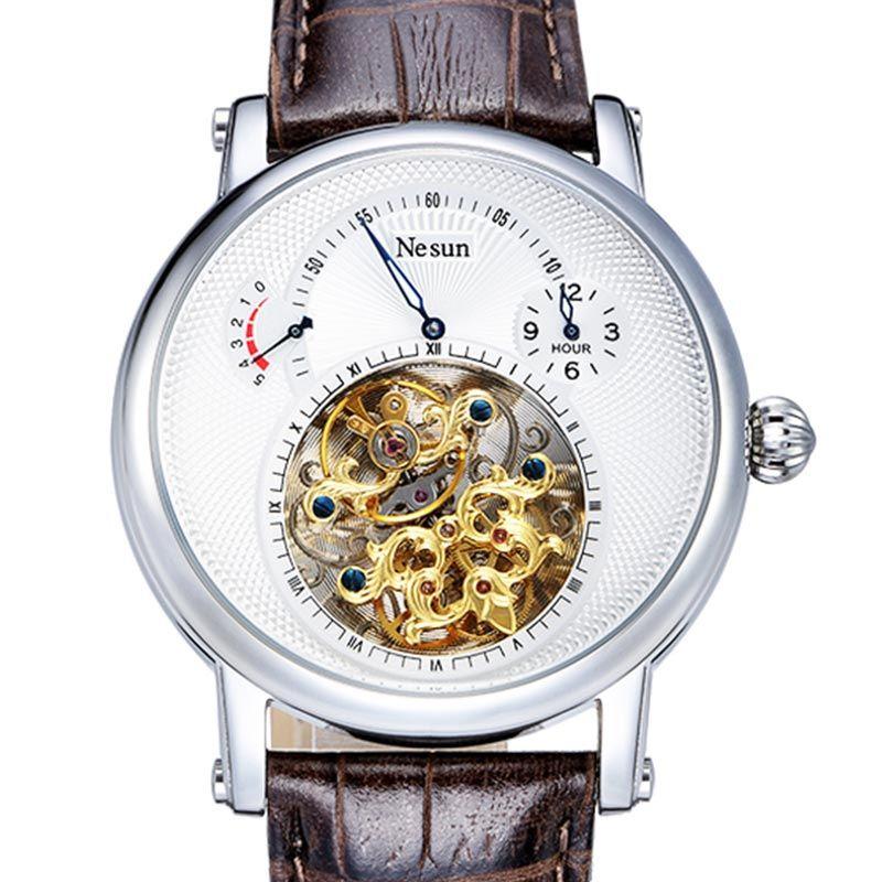 Switzerland Luxury Brand Nesun Hollow Tourbillon Watch Men Automatic Mechanical Men's Watches Sapphire Waterproof clock N9081-4