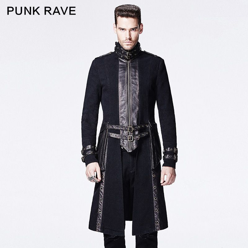 Punk Rave long slim black high collar coat with the adjustable loops Y-589