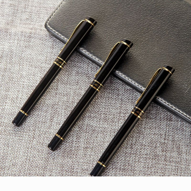 6203 Black Business Metal Fountain Pen Nib Medium Gold Trim Arrow Clip School Supplies Hot