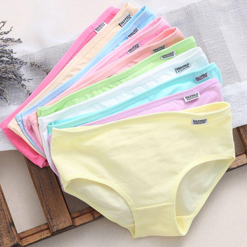 10Pcs Women's Cotton Blend Solid Panties Briefs Lingerie Shorts Underwear Thongs