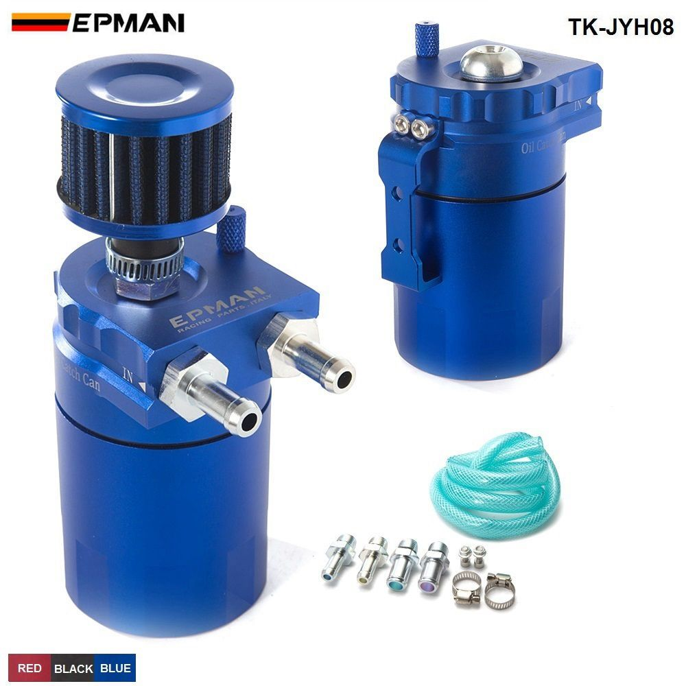 EPMAN Sport Universal Aluminum Oil Catch Can Reservoir Tank 400ml + Breather Filter TK-JYH08