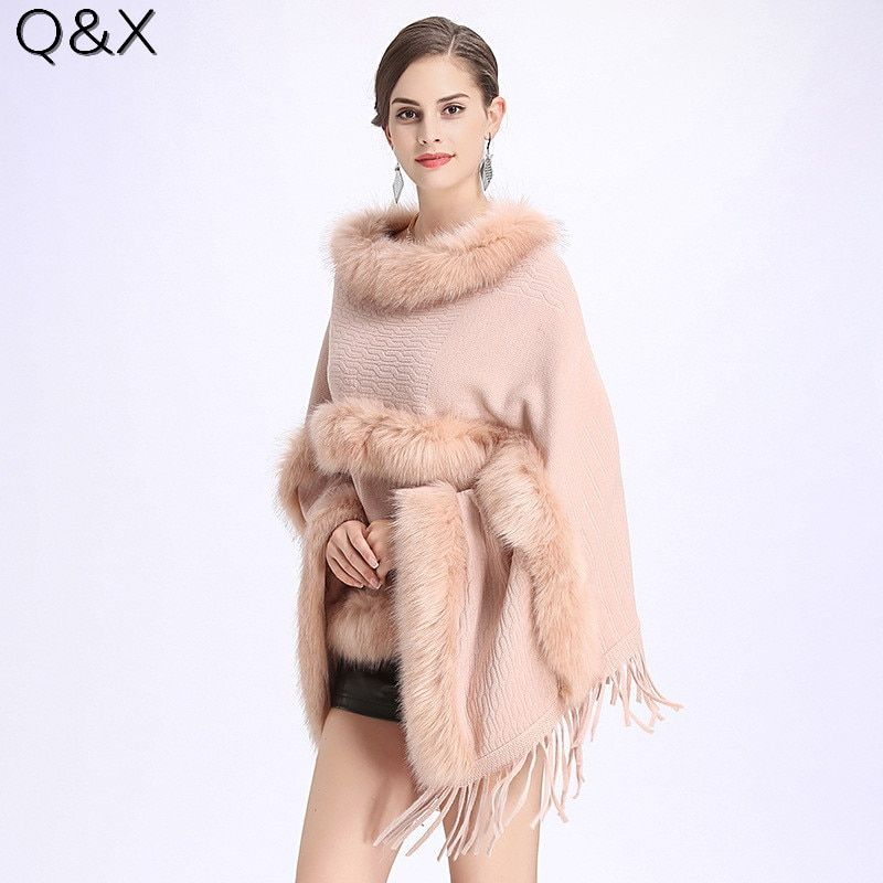 SC121 2018 Winter Women Long Black Fake Cashmere Plus Size Sweaters Shawl Knitted Poncho Cape Two Layers Fur Loose Pullovers