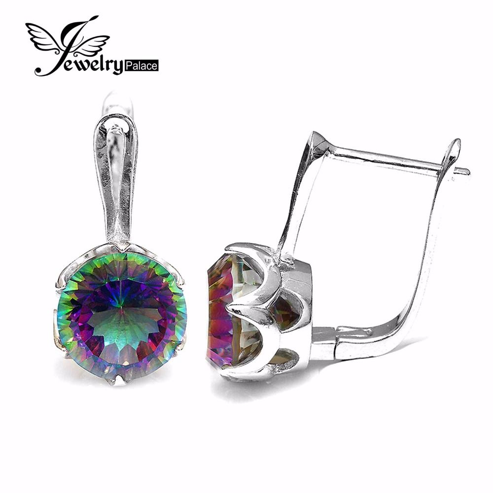 Jewelrypalace 10ct Natural Rainbow Mystic Topaz Romance Clip On Earrings Genuine 925 Solid Sterling Silver For Women Jewelry