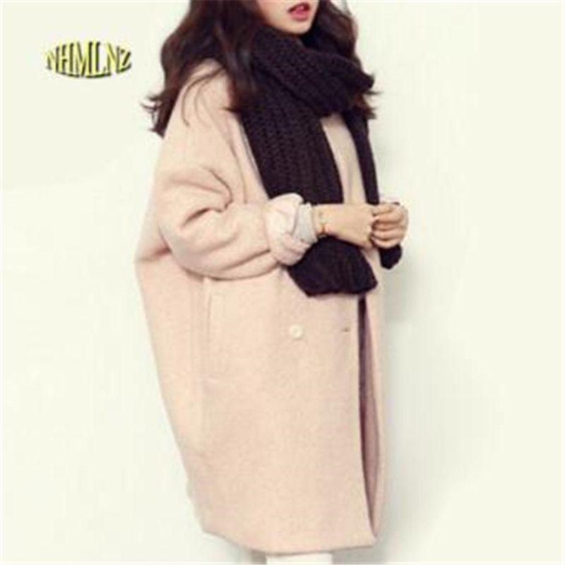 2018 Winter Fashion Women New Coat Long sleeve Medium Long High quality Wool Coat Loose Super Warm Woolen Coat Women G1814