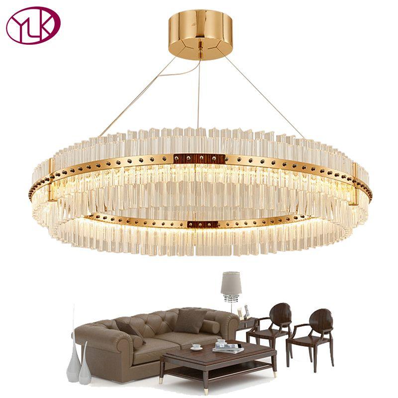 Youlaike Living Room LED Chandelier Luxury Modern Crystal Lamp Double Layer Hanging Cristal Lustre Dining Room Gold Lighting