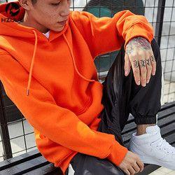 Mode Couleur de Hooides Hommes Épais Vêtements D'hiver Sweats Hommes Hip Hop Streetwear Solide Polaire Sweat À Capuche Homme Vêtements USA TAILLE