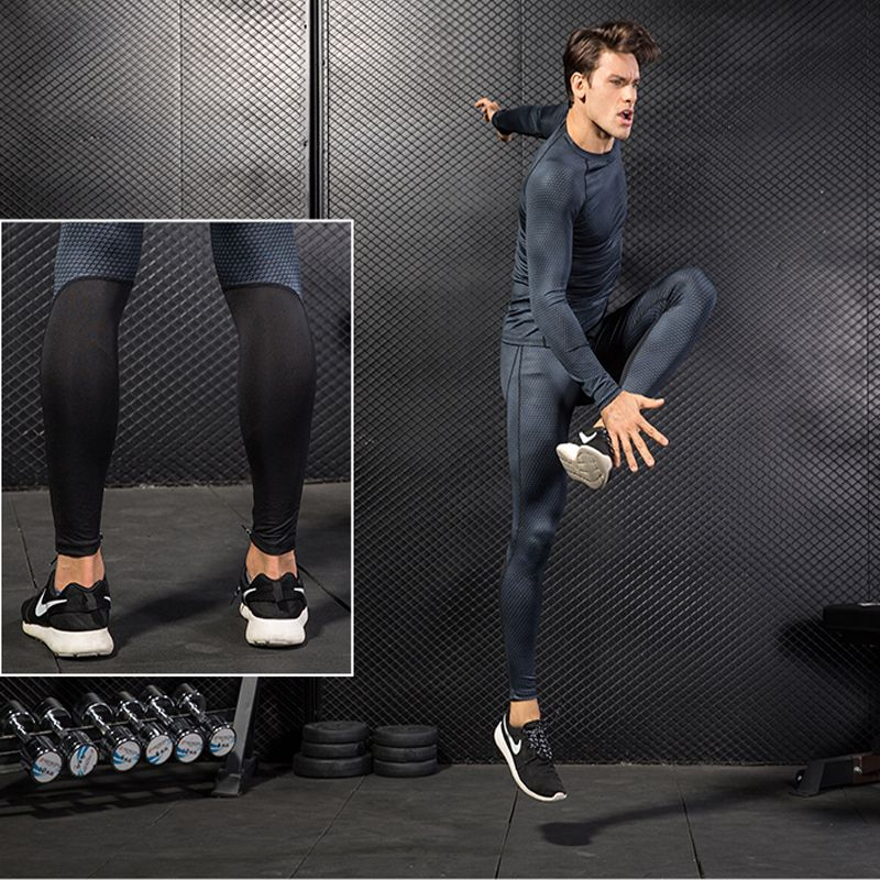 YD 2017 Men's Running Pants Compression Tights Quick Dry Breathable Fitness Jogging Trousers Training Sport Leggings Sportswear