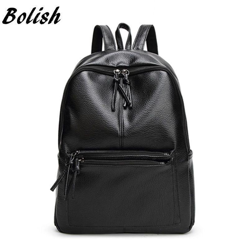 Bolish New Travel Backpack Korean Women Female Rucksack Leisure <font><b>Student</b></font> School bag Soft PU Leather Women Bag