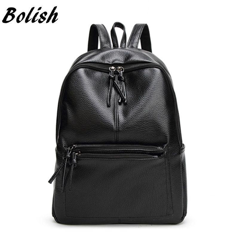 Bolish New Travel <font><b>Backpack</b></font> Korean Women Female Rucksack Leisure Student School bag Soft PU Leather Women Bag