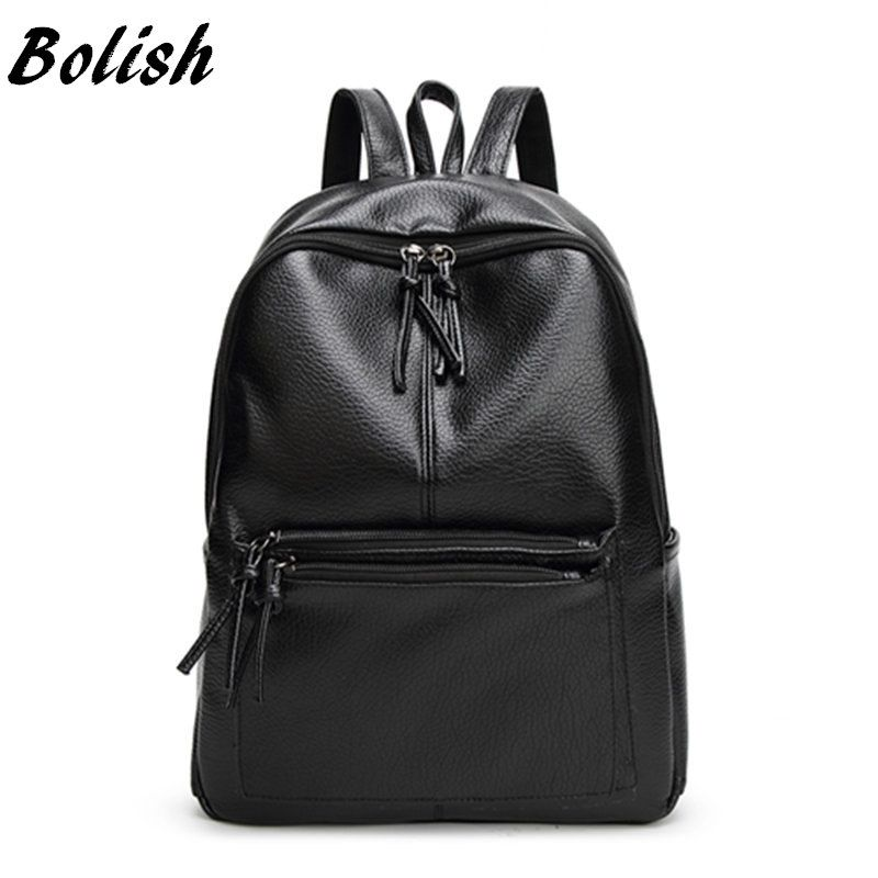 Bolish New <font><b>Travel</b></font> Backpack Korean Women Female Rucksack Leisure Student School bag Soft PU Leather Women Bag
