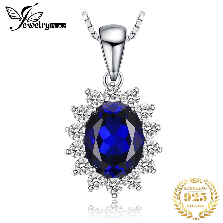Bijoux palace collier en argent 3.2ct princesse Diana créé saphir bleu femmes pendentif 925 bijoux en argent Sterling sans chaîne