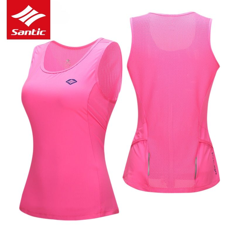 Santic Women Cycling Jersey Sleeveless Anti-UV Breathable Summer Cycling Clothing Downhill Cycle Bike Jersey Chaleco Ciclismo