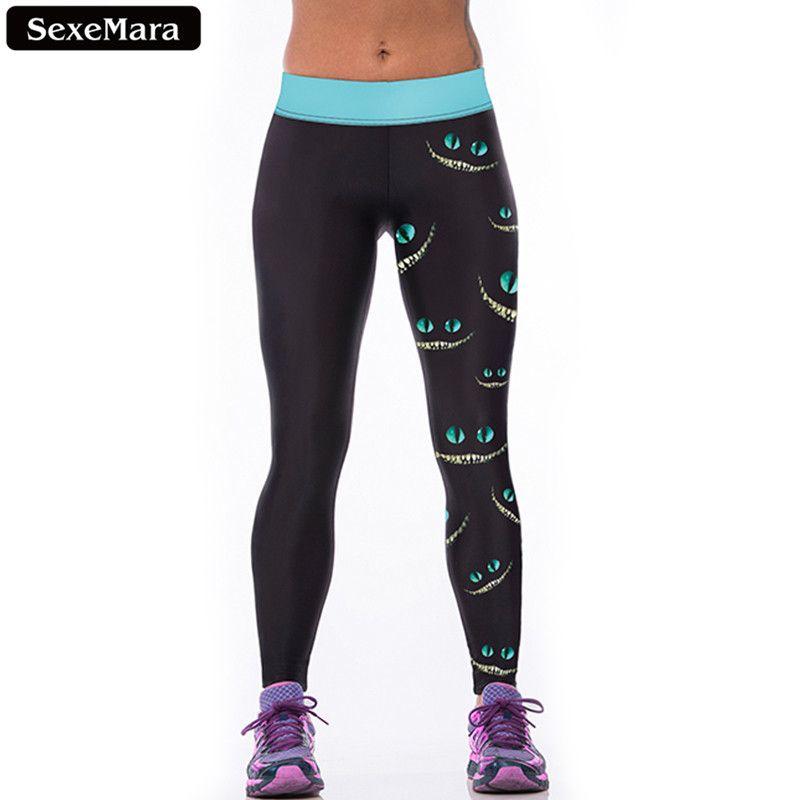 SexeMara préféré Cheshire chat Leggings femmes élastique populaire taille haute sport Leggin imprimer Skinny gothique Fitness pantalon F1527