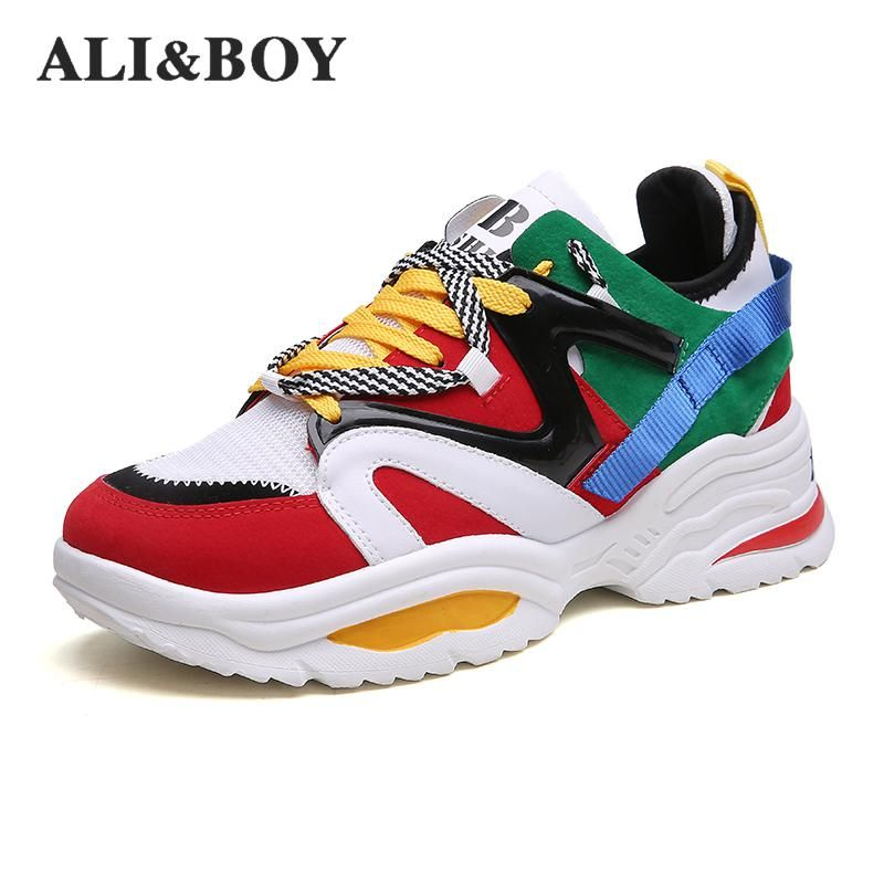 Size 35-48 Women Running Shoes Increasing 6cm Ins Ulzza Harajuku Sneakers Cushioning Height Platform Breathable Sports Walking