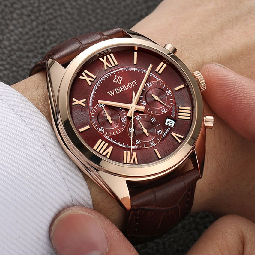 Mens Business Waterproof Quartz Watch Top Brand WISHDOIT Leather Men Sports Watches Fashion Casual Military <font><b>Rose</b></font> Gold Male Clock