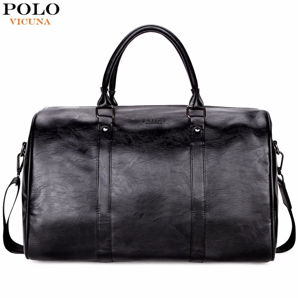 VICUNA POLO Casual Business Men Travel Bags Large Capacity Rolling Travel Handbag Black Leather Mens duffel bag For Short Trip