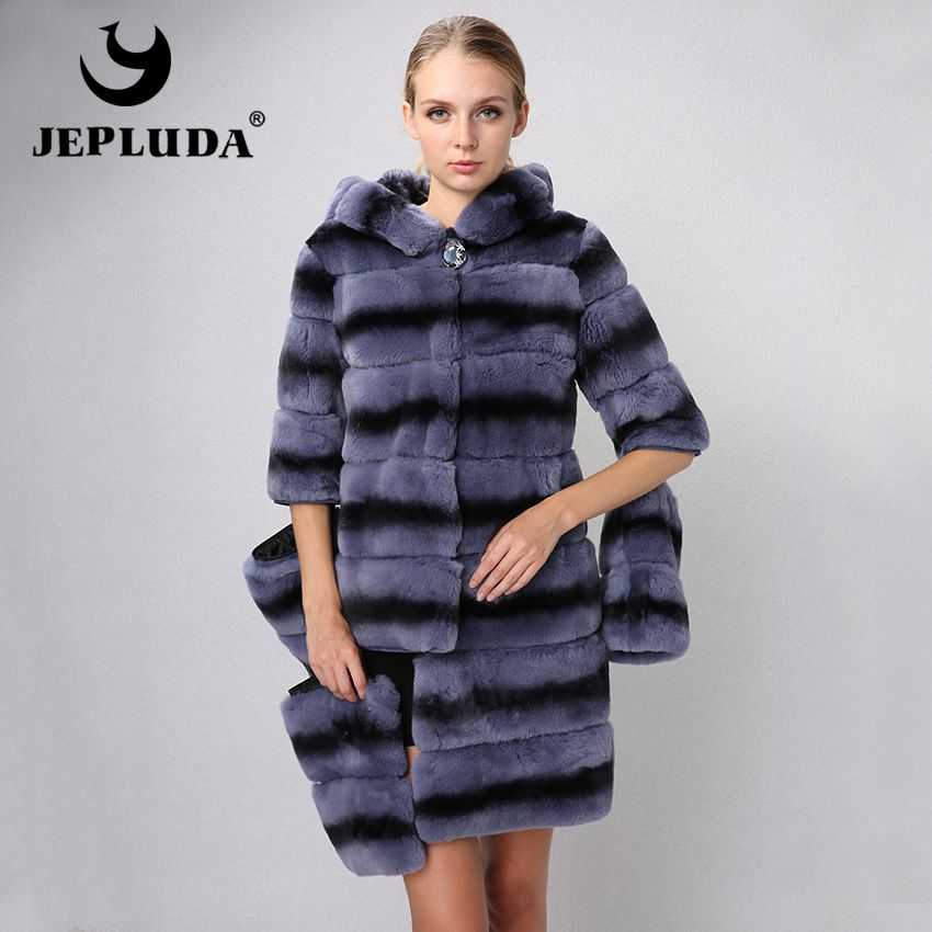 JEPLUDA New Graceful Women Natural Real Rex Rabbit Fur Coat Various Colors Sleeve Hem Detachable Real Fur Coat Winter Fur Jacket