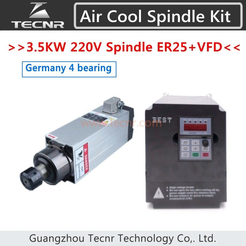 4pcs Imported Ceramic Bearings 3.5KW 220V Air Cool Spindle With 4KW VFD Inverter For Wood CNC Router